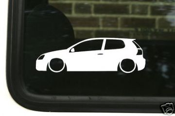 2x LOW VW Golf Mk5 R32 / GTI / TDi /GT outline, silhouette, stickers, Decals .